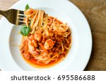 top view of tasty shrimps chili ... | Shutterstock . vector #695586688