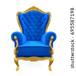 blue throne chair isolated. 3d... | Shutterstock . vector #695587198