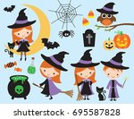 cute halloween vector with... | Shutterstock .eps vector #695587828