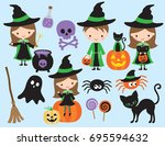 cute halloween vector with... | Shutterstock .eps vector #695594632