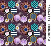 unique patchwork pattern with... | Shutterstock .eps vector #695595982