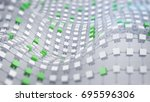 green connected displaced grid. ... | Shutterstock . vector #695596306
