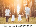 family father  mother and two... | Shutterstock . vector #695597515