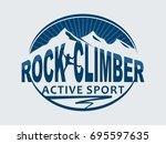 rock climber. active sport.... | Shutterstock .eps vector #695597635