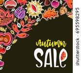 vector autumn harvest festival... | Shutterstock .eps vector #695598295