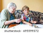 active little preschool kid boy ... | Shutterstock . vector #695599372