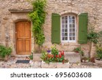 street view of quaint french... | Shutterstock . vector #695603608