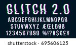 glitch distorted font letter... | Shutterstock .eps vector #695606125