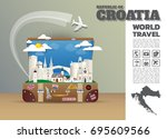 croatia landmark global travel... | Shutterstock .eps vector #695609566