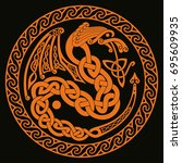 celtic dragon with national... | Shutterstock .eps vector #695609935