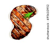 s shape grilled beef steak with ... | Shutterstock . vector #695610952