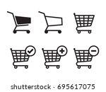 shopping cart icons set. black... | Shutterstock .eps vector #695617075