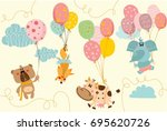 vector card with cute animals... | Shutterstock .eps vector #695620726