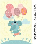 vector card with cute elephant... | Shutterstock .eps vector #695623426