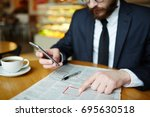 jobless man messaging in... | Shutterstock . vector #695630518