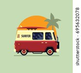 colorful surfing van flat style ... | Shutterstock .eps vector #695632078