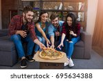 time for a snack. a company of... | Shutterstock . vector #695634388