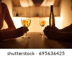 couple sitting together... | Shutterstock . vector #695636425