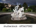 Small photo of Triton and Naiad Fountain in Vienna, Austria, Maria Theresien Platz, circa 1890