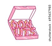 box with donuts  vector... | Shutterstock .eps vector #695637985