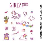 girly awesome sticker set ... | Shutterstock .eps vector #695638735