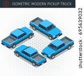 Isometric Blue Pickup Truck Ca...