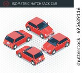 isometric red hatchback car. 3d ... | Shutterstock .eps vector #695639116
