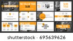 Gray and Yellow elements on a white background. This template is the best as a business presentation, corporate report, used in marketing and advertising, the annual report, flyer and banner | Shutterstock vector #695639626