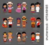 people in national dress. timor ... | Shutterstock .eps vector #695648485