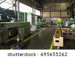 a long shop of a factory for... | Shutterstock . vector #695655262