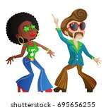 two cool cartoon disco dancers... | Shutterstock . vector #695656255