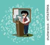 professor near the blackboard... | Shutterstock .eps vector #695659846