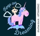 cute unicorn isolated set ... | Shutterstock .eps vector #695660062