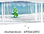 paper art winter snow forest... | Shutterstock . vector #695661892