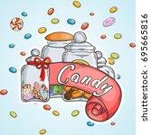 label sweet shop. swirl candy ... | Shutterstock .eps vector #695665816