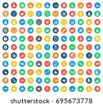 financial icons in colorful... | Shutterstock .eps vector #695673778