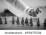 the chinese play the guqin scene | Shutterstock . vector #695675236