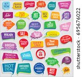 promo sale stickers and tags... | Shutterstock .eps vector #695676022