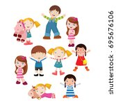 variation of pose playing kids... | Shutterstock .eps vector #695676106