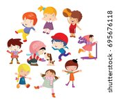 variation of pose playing kids... | Shutterstock .eps vector #695676118