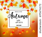 autumn sale banner with... | Shutterstock .eps vector #695676172