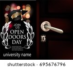 university open doors day... | Shutterstock .eps vector #695676796