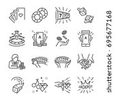 casino and gamble line icon set.... | Shutterstock .eps vector #695677168