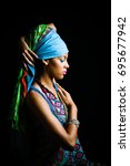 african black young woman... | Shutterstock . vector #695677942