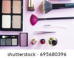decorative cosmetics for a... | Shutterstock . vector #695680396