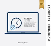 working hour icon flat isolated ... | Shutterstock .eps vector #695686495