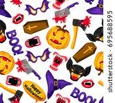 happy halloween seamless... | Shutterstock .eps vector #695688595
