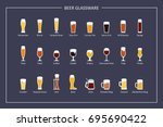beer glasses types guide  flat... | Shutterstock .eps vector #695690422