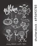 drawing halloween character...   Shutterstock .eps vector #695693785