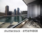 high end balcony in downtown of ... | Shutterstock . vector #695694808